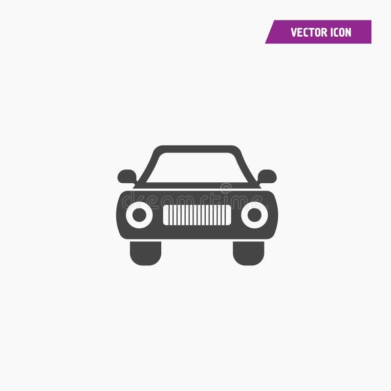 Czarna retro samochodowa sylwetka frontowego widoku ikona ilustracja wektor