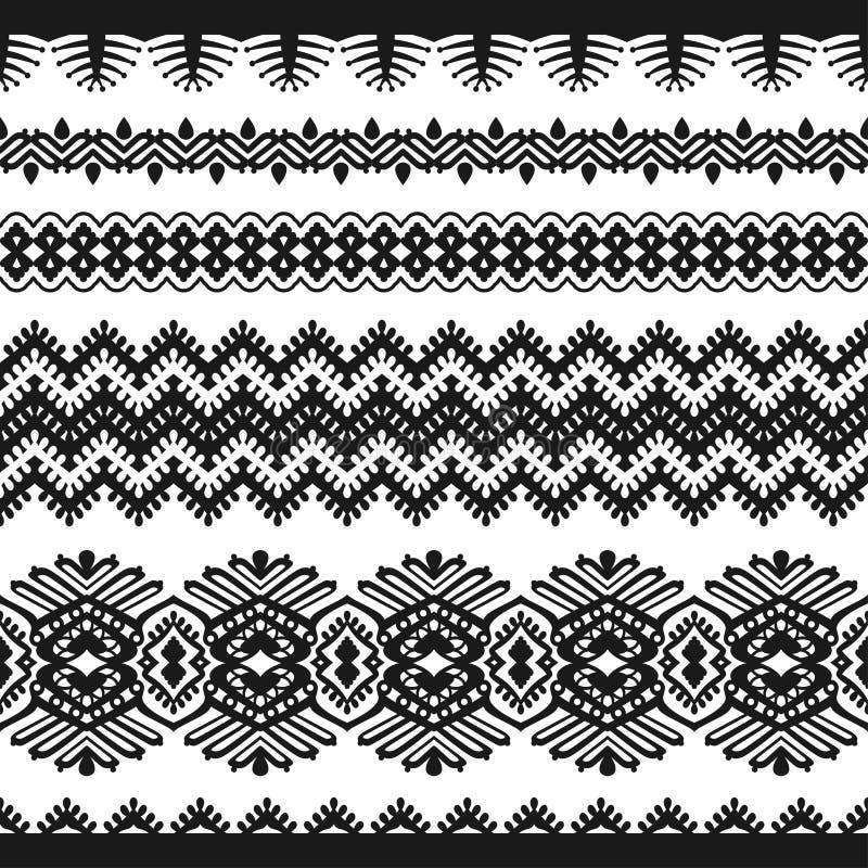 Czarna rocznik koronka na białym tle ilustracja wektor