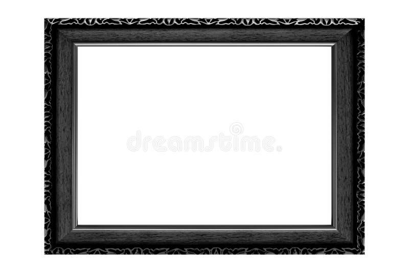 Czarna rocznika obrazka rama odizolowywająca na białym tle fotografia royalty free