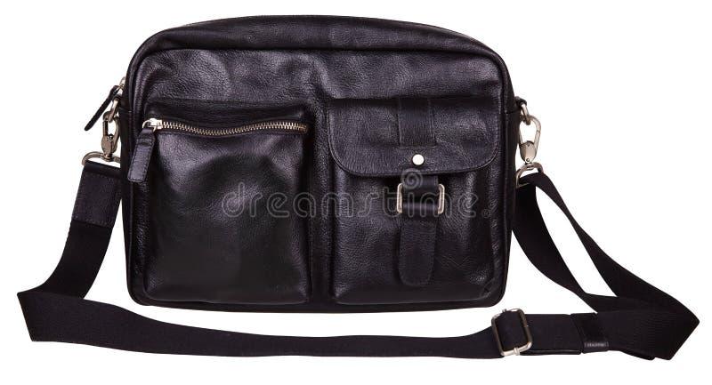 Czarna rzemienna naramienna torba dla mężczyzn odizolowywających na bielu zdjęcia royalty free