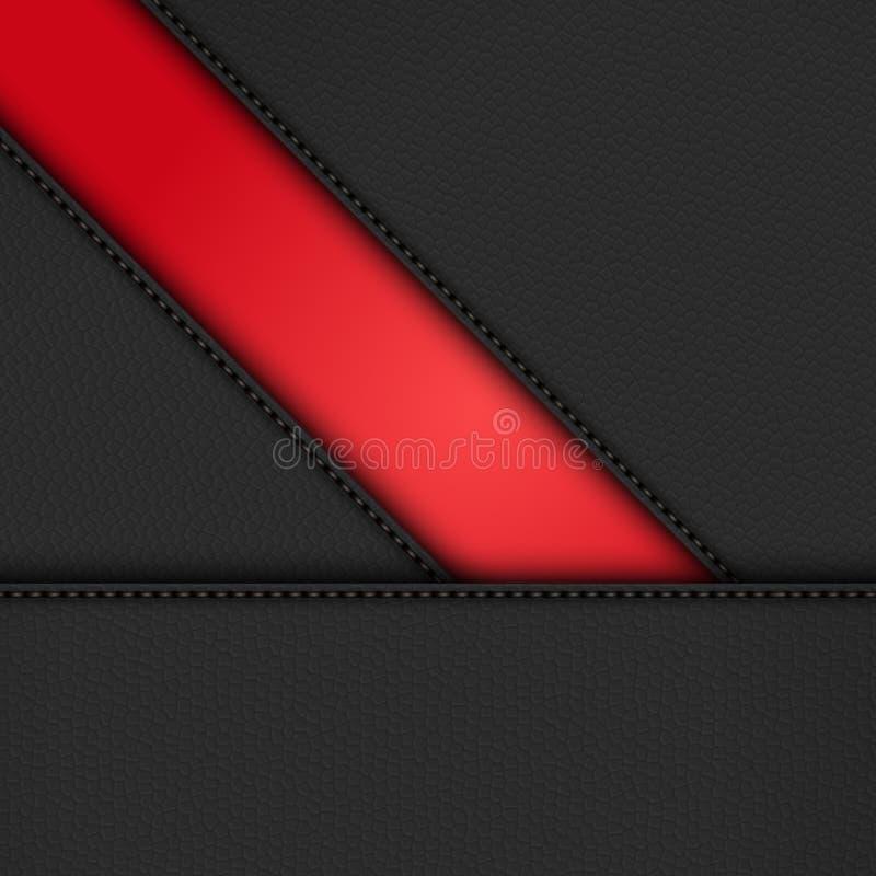 Czarna rzemienna przekątna kasetonuje tło na czerwieni ilustracji