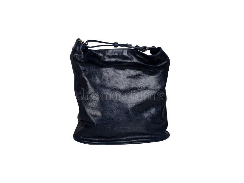 Czarna rzemienna torebka odizolowywająca na białym tle zdjęcia stock