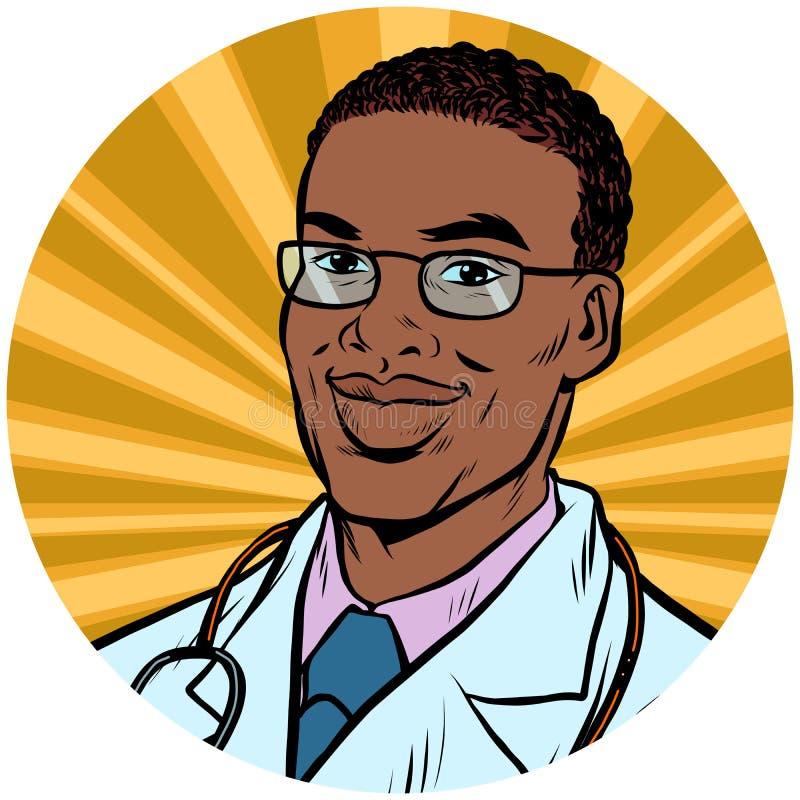 Czarna samiec lekarki amerykanina afrykańskiego pochodzenia wystrzału sztuki avatar charakteru ikona ilustracja wektor