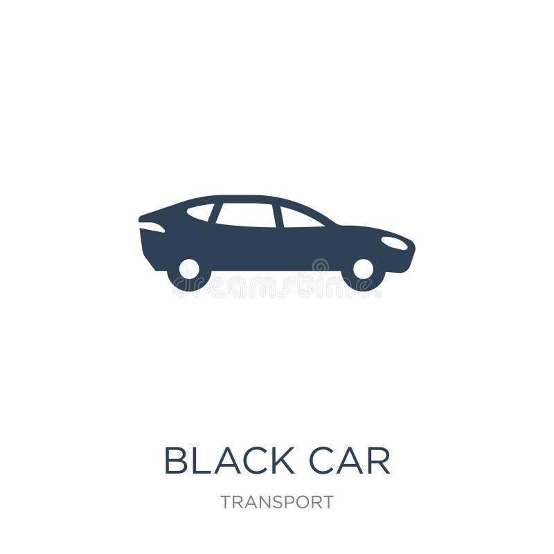 czarna samochodowa ikona w modnym projekta stylu Czarna samochodowa ikona odizolowywająca na białym tle czarnej samochodowej wekt ilustracji
