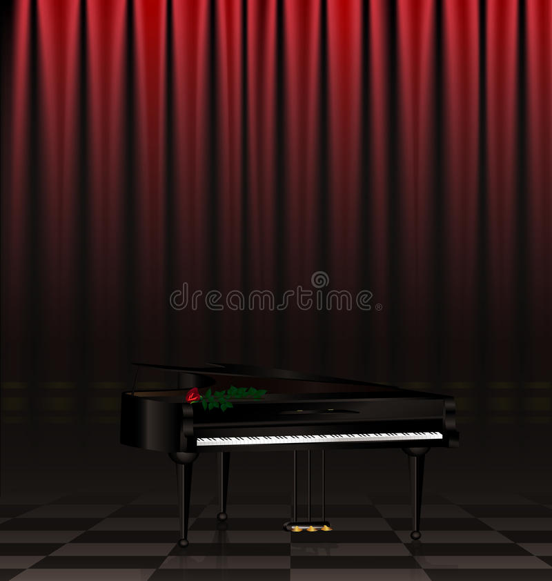 czarna scena i pianino ilustracji