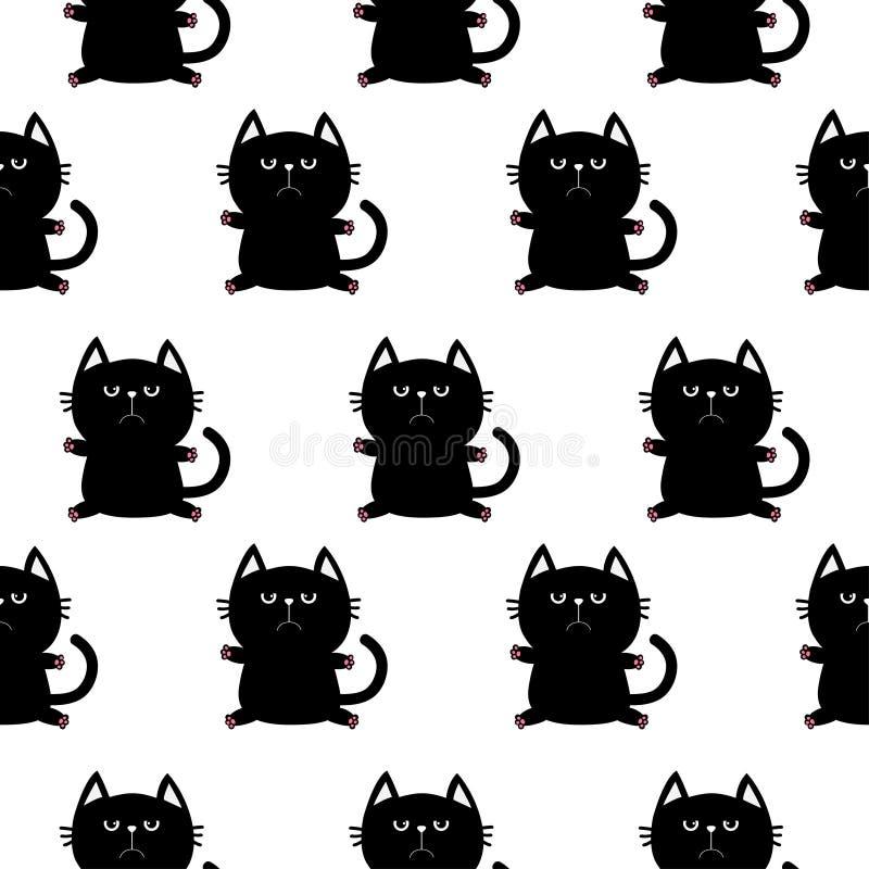 Czarna siedząca kot głowa z łapa drukiem Śliczny postać z kreskówki Dziecka zwierzęcia domowego kolekcja Bezszwowy Deseniowy Opak royalty ilustracja