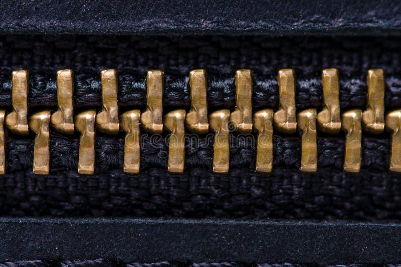 Czarna skórzana torba makro tekstura akcesoria zamek zdjęcie stock