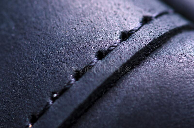 Czarna skórzana torba makro tekstura akcesoria zamek obrazy stock