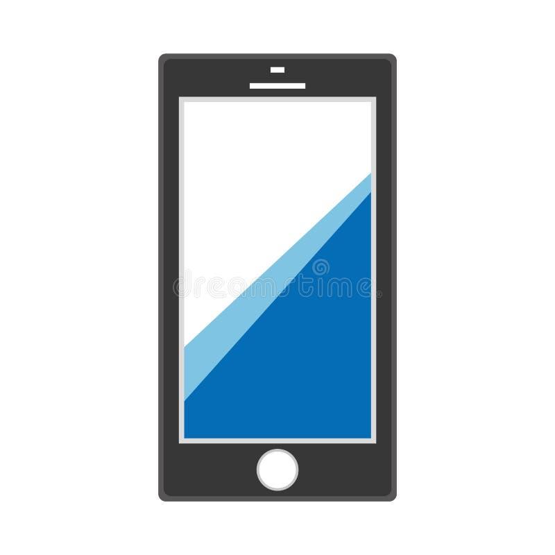Czarna Smartphone ikona z niebieskimi liniami na parawanowym telefonu komórkowego znaku Czarny telefonu komórkowego kontaktu wezw ilustracja wektor