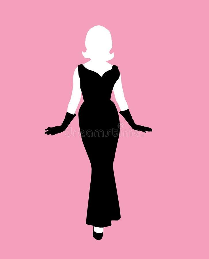czarna smokingowa sylwetka kobiecej royalty ilustracja
