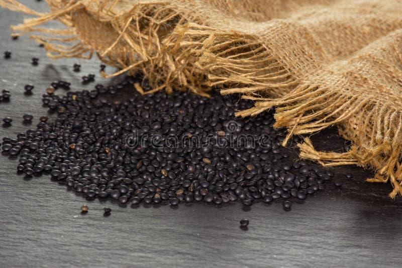 Czarna soczewicy bieługa na popielatym kamieniu zdjęcie royalty free