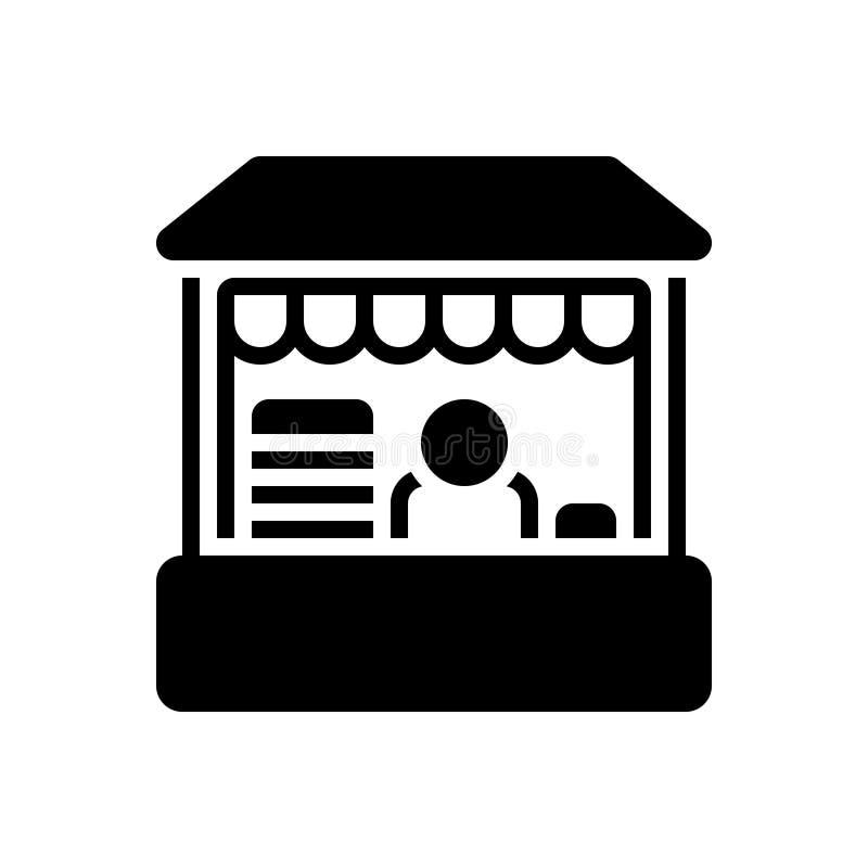 Czarna, solidna ikona: Retail Place, butik i kup royalty ilustracja