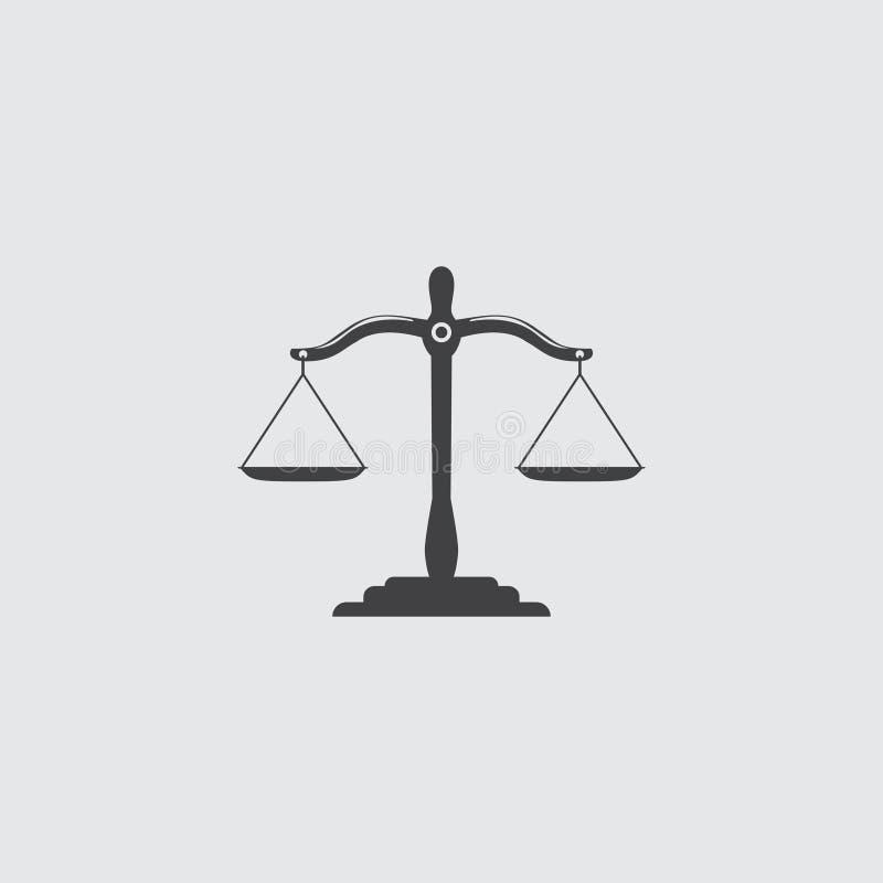 Czarna sprawiedliwość waży ikonę Prawo balansowy symbol Libra w płaskim projekcie również zwrócić corel ilustracji wektora ilustracji