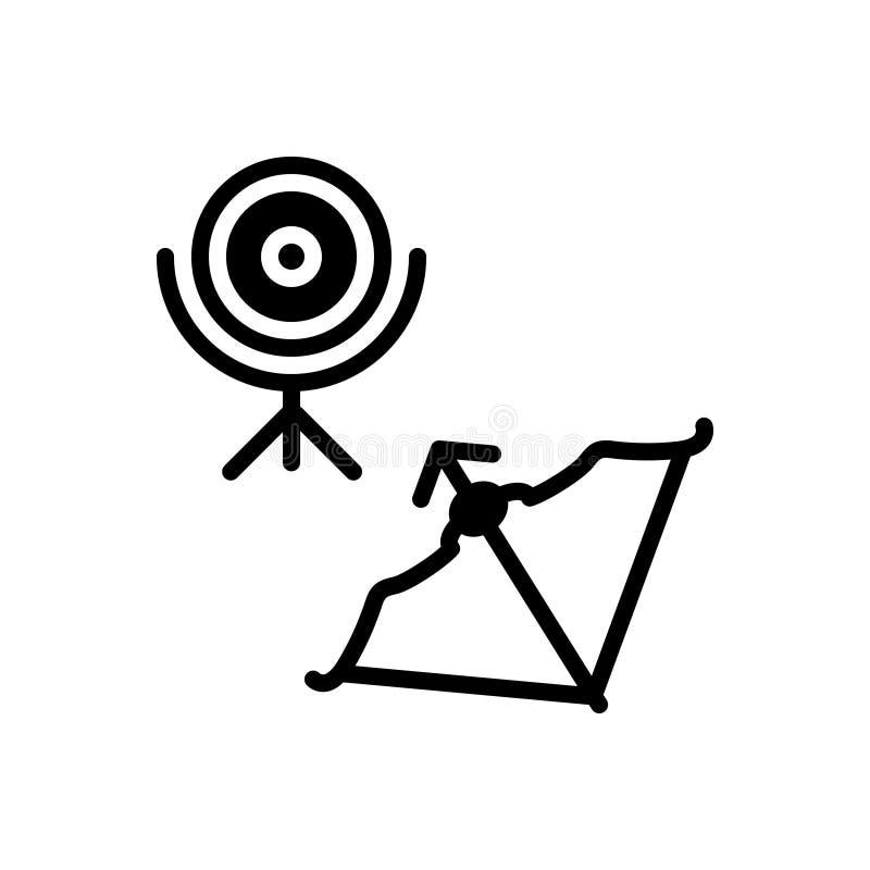 Czarna stała ikona dla łucznictwa, koncentracji i łuczniczki, ilustracja wektor
