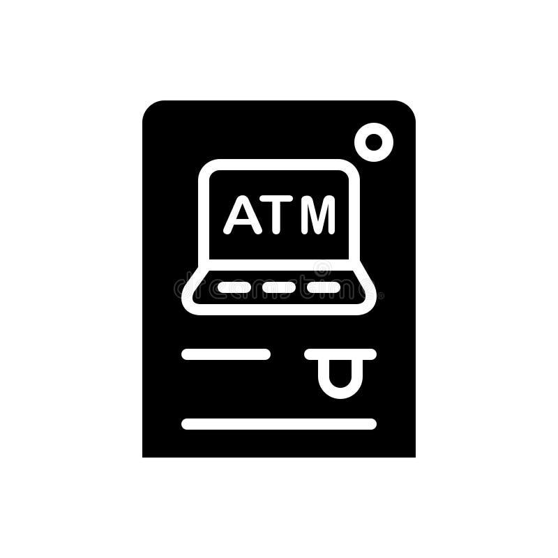 Czarna stała ikona dla Atm, gotówki i wycofania, royalty ilustracja