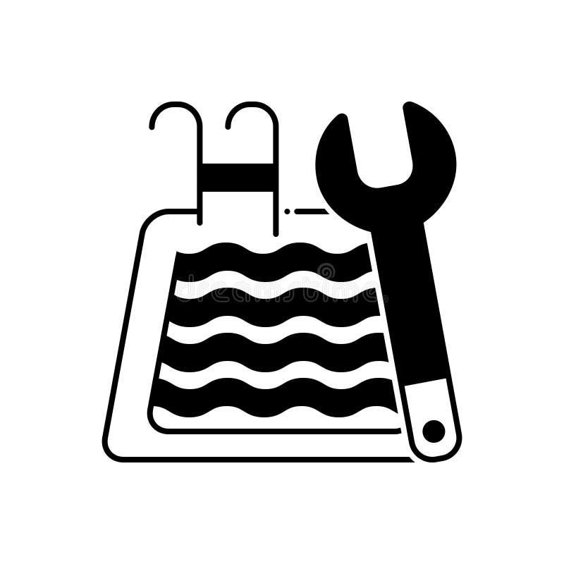 Czarna stała ikona dla basenu utrzymania, czysty i czysty royalty ilustracja