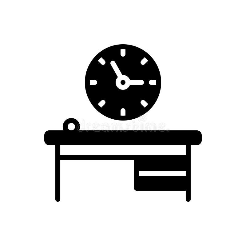 Czarna stała ikona dla biuro zegaru, czas biega i rozkład ilustracji