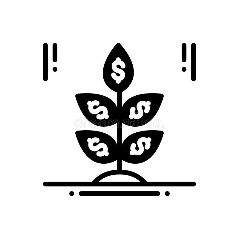Czarna stała ikona dla Biznesowego rozpoczęcia, pracownika i przedsiębiorcy, ilustracja wektor