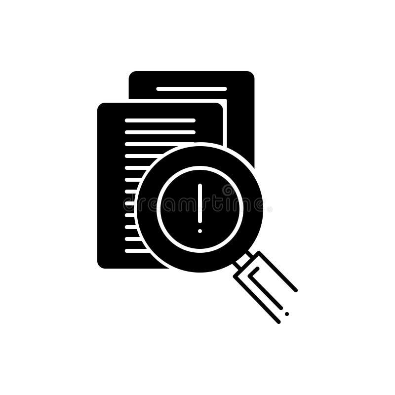 Czarna stała ikona dla cenienia, odkrycia i ubezpieczenia ryzyka, ilustracji