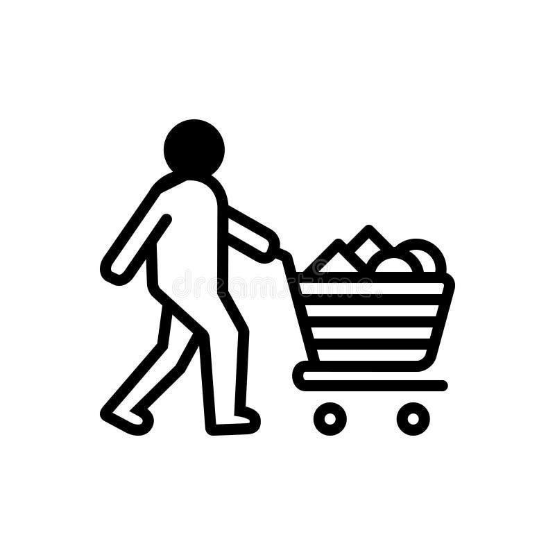 Czarna stała ikona dla Consumable, nabycia i kosza, ilustracja wektor