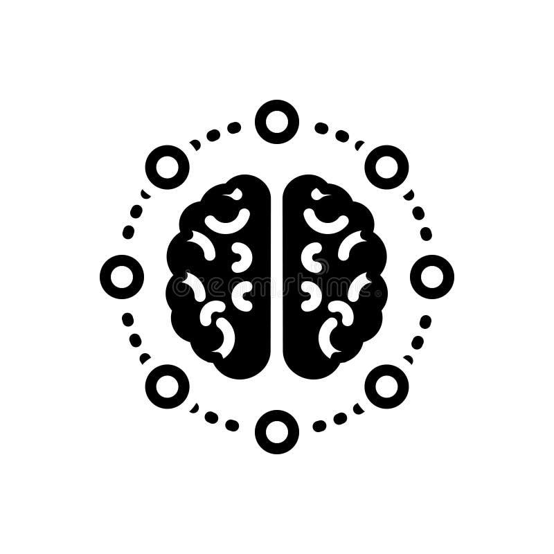 Czarna stała ikona dla części, myśli i neurone umysłu, ilustracja wektor