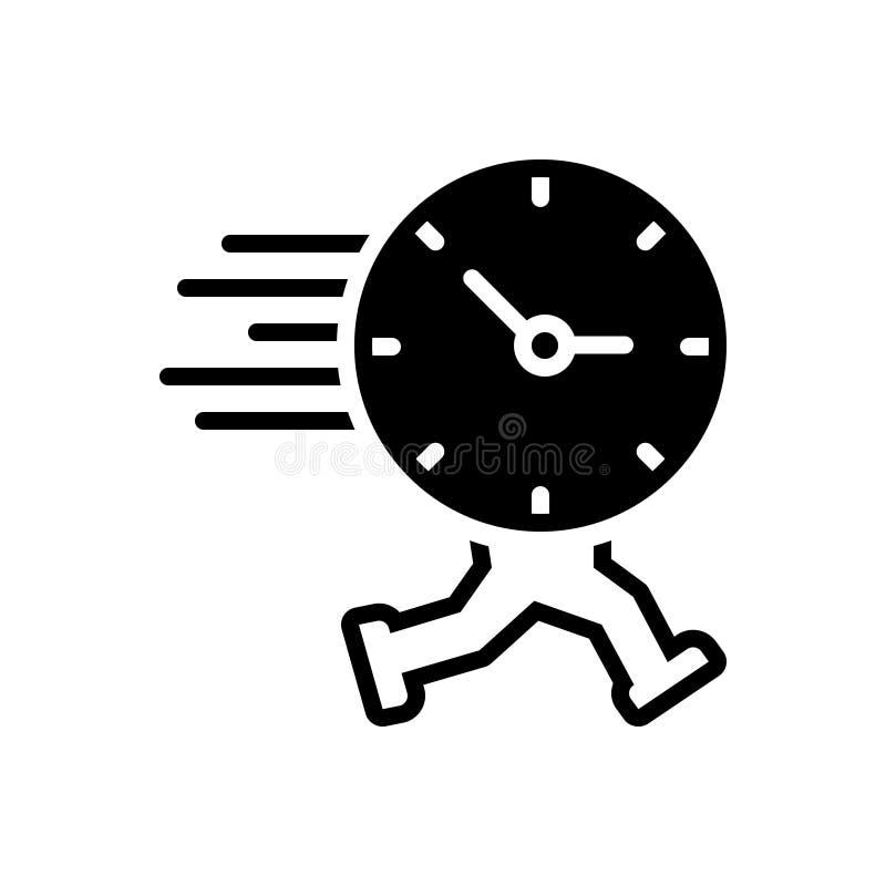 Czarna stała ikona dla czasu Biega, przypomnienie i rozkład, ilustracja wektor