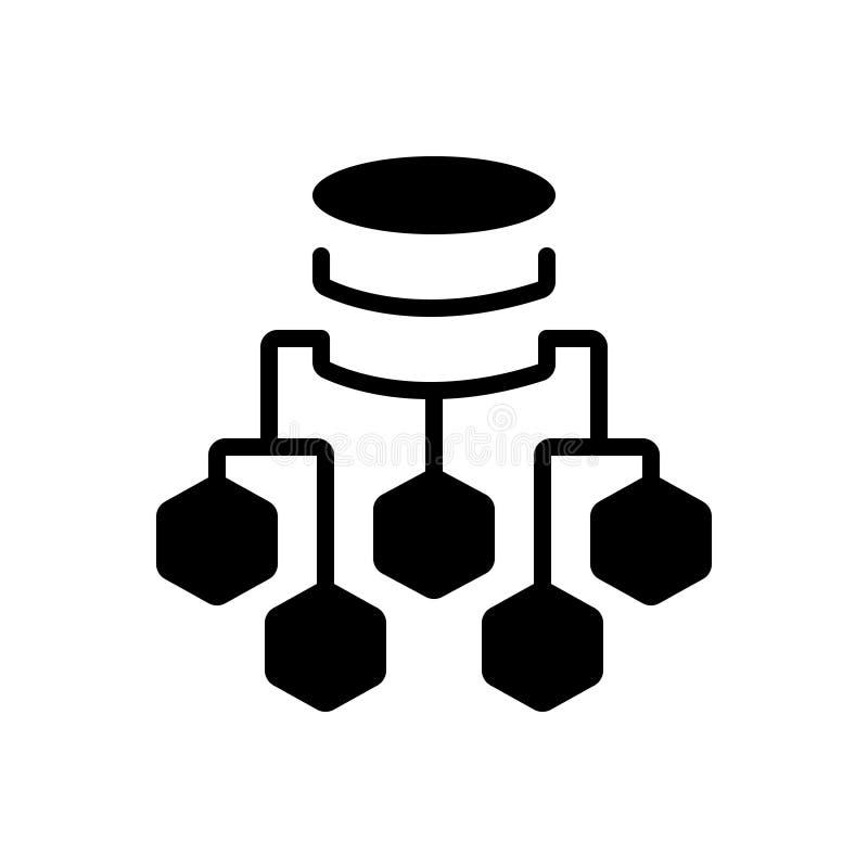Czarna stała ikona dla dane Spływowej mapy, procesu i związku, royalty ilustracja