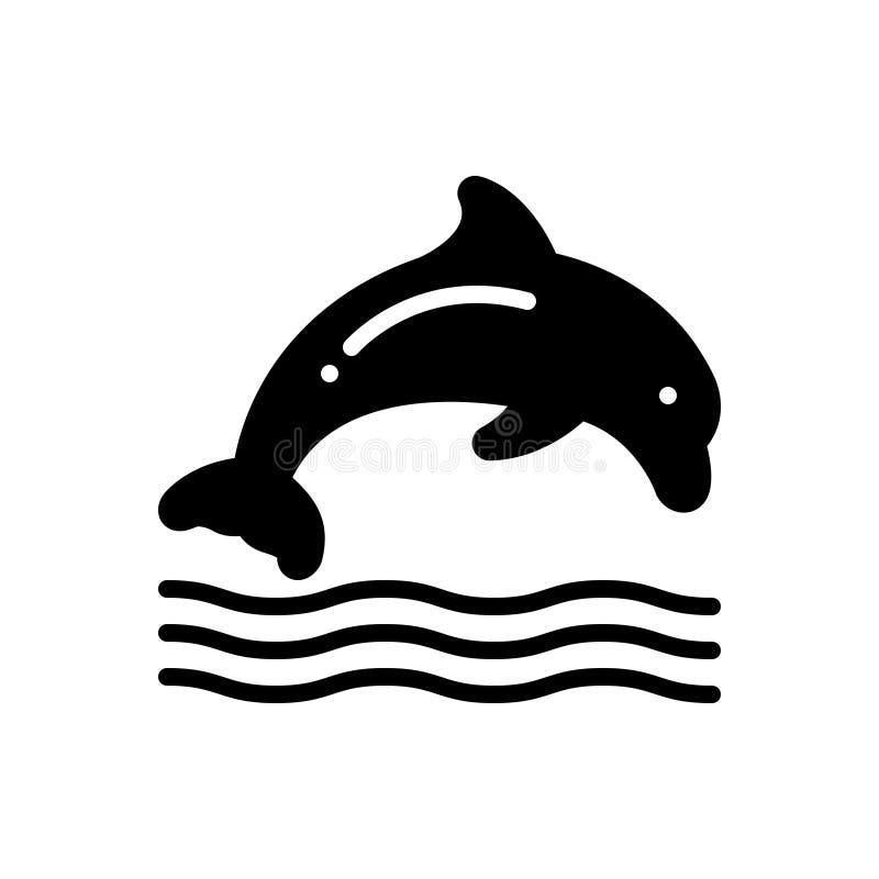 Czarna sta?a ikona dla delfinu, doskakiwania i dennego zwierz?cia, ilustracja wektor