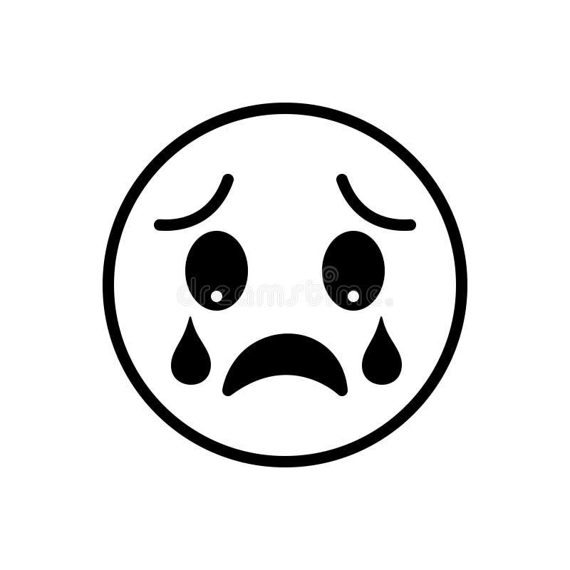 Czarna stała ikona dla Dissapoint, rozczarowywa i płacze ilustracja wektor
