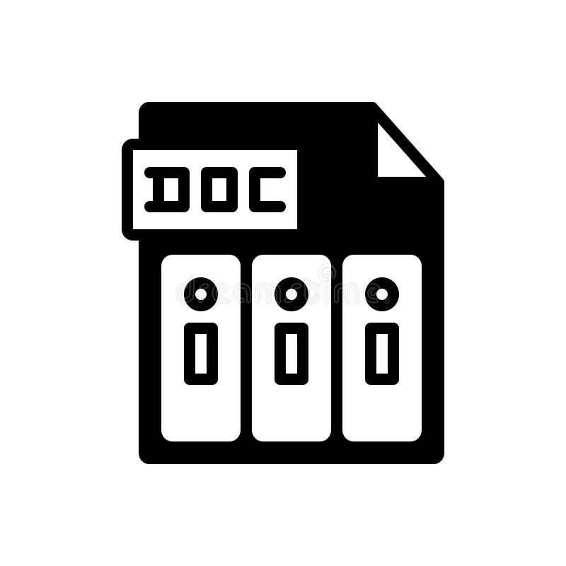 Czarna stała ikona dla doc, raportów i dokumentu, royalty ilustracja