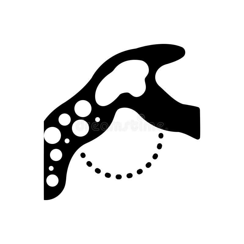 Czarna stała ikona dla embolii, cerebrum i arterii, ilustracja wektor