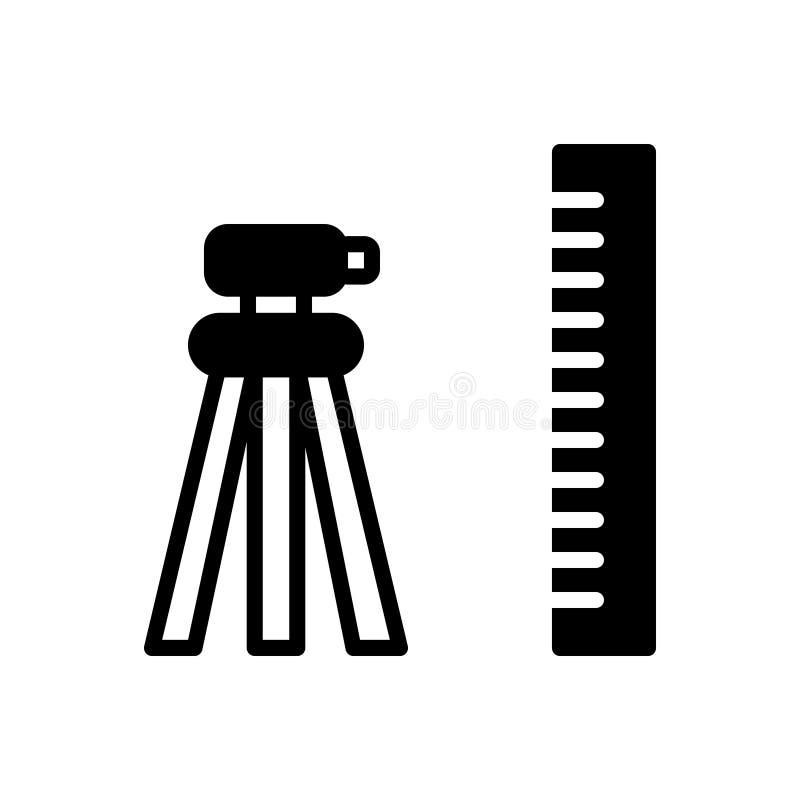 Czarna stała ikona dla Geodezyjnego, geodety i budować, ilustracji