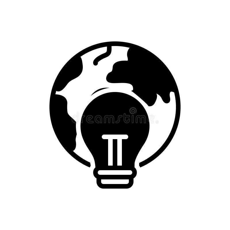 Czarna stała ikona dla Globalnego spożycia, ostrzeżenia i szklarni, ilustracji