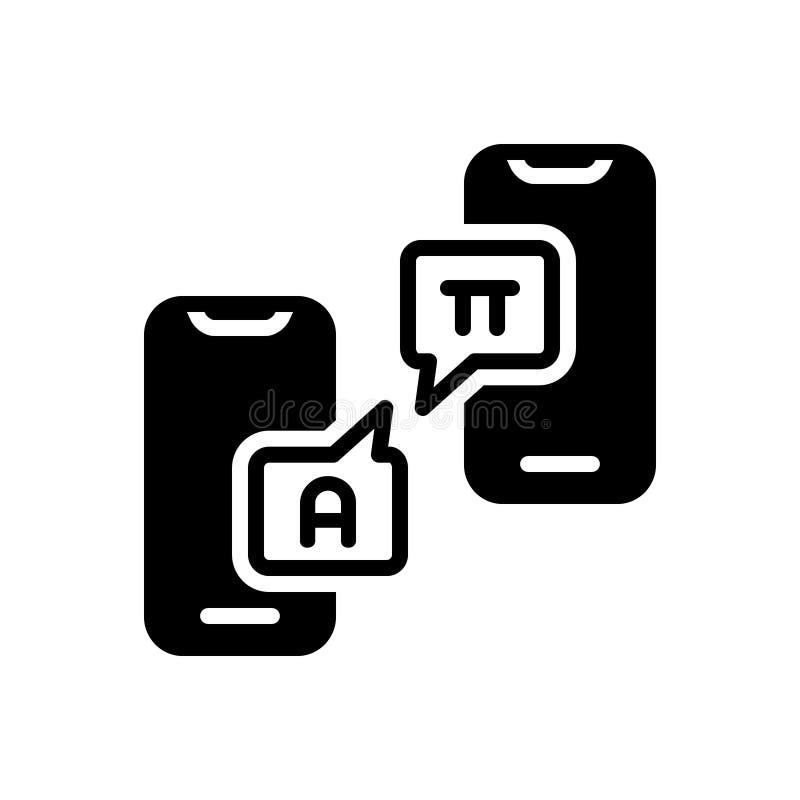 Czarna stała ikona dla Interpretuję, odszyfrowywa i usilnie namawiać ilustracji