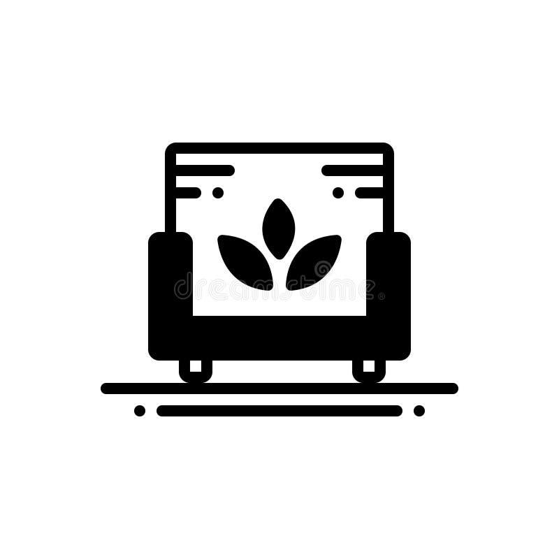 Czarna stała ikona dla kanapa zdroju, kuluarowy i czysty royalty ilustracja