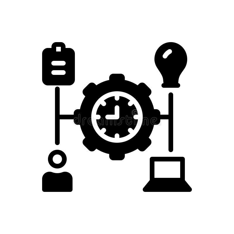 Czarna stała ikona dla Kieruję, transact i działa ilustracja wektor