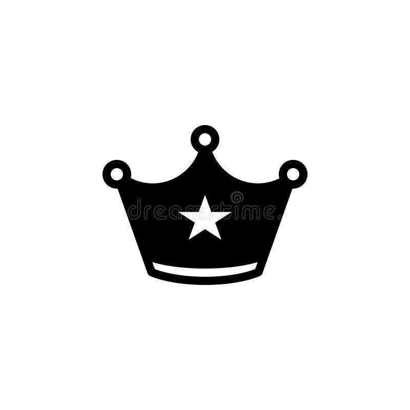 Czarna stała ikona dla korony, diademu i frontlet, ilustracja wektor