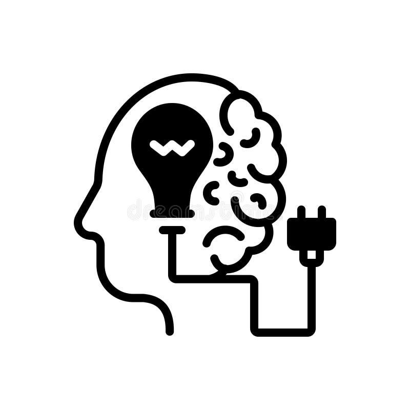 Czarna sta?a ikona dla Kreatywnie, brainstorming i pomys?u, royalty ilustracja