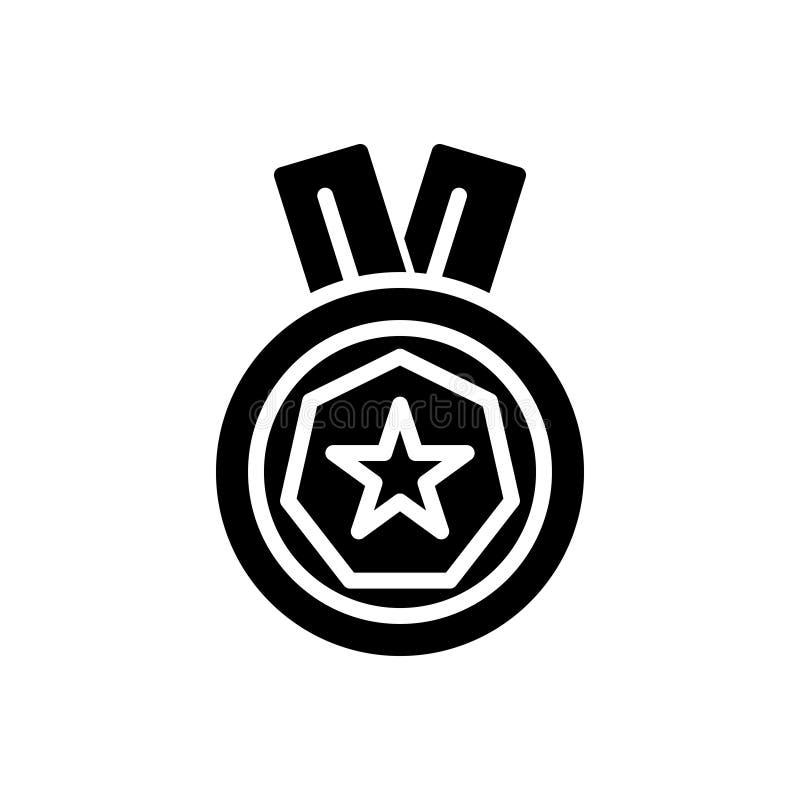 Czarna stała ikona dla medalu, osiągnięcia i nagród, ilustracja wektor