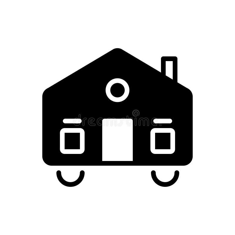 Czarna stała ikona dla Mobilhome, dynamiczny i mobilny royalty ilustracja
