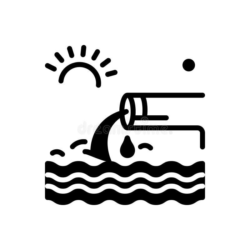 Czarna stała ikona dla Odpływowego, spływowego, i strumienia royalty ilustracja