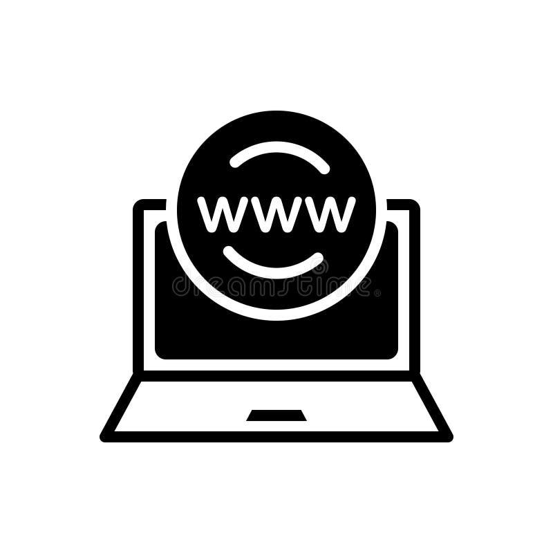 Czarna stała ikona dla Online, obecność i zarządzanie, ilustracja wektor