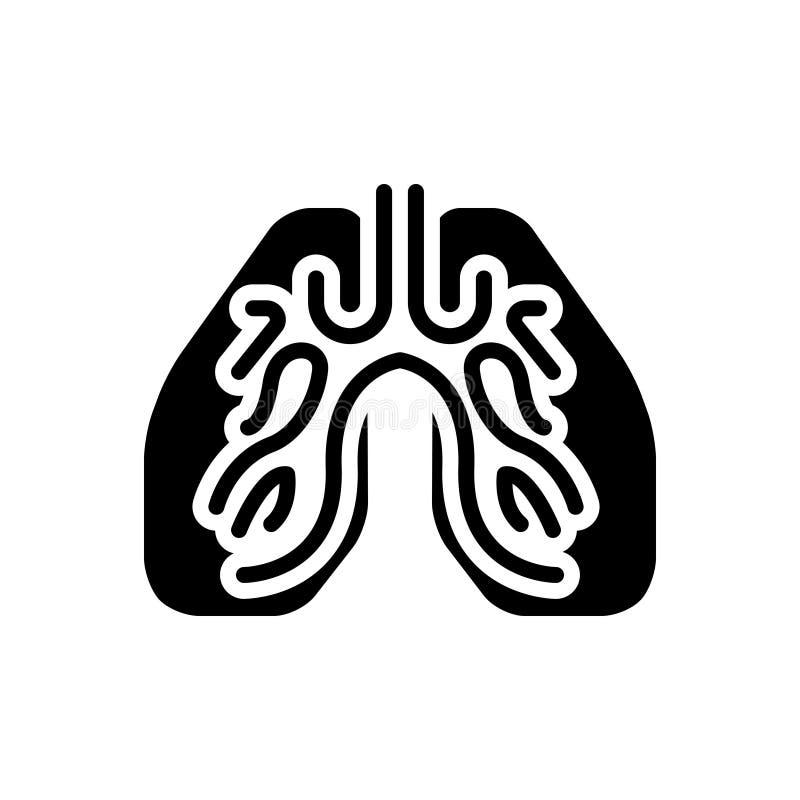 Czarna stała ikona dla płuc, oddechu i istoty ludzkiej, royalty ilustracja