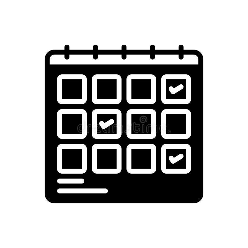 Czarna stała ikona dla planowania, planification i projekta rozkładu, ilustracji