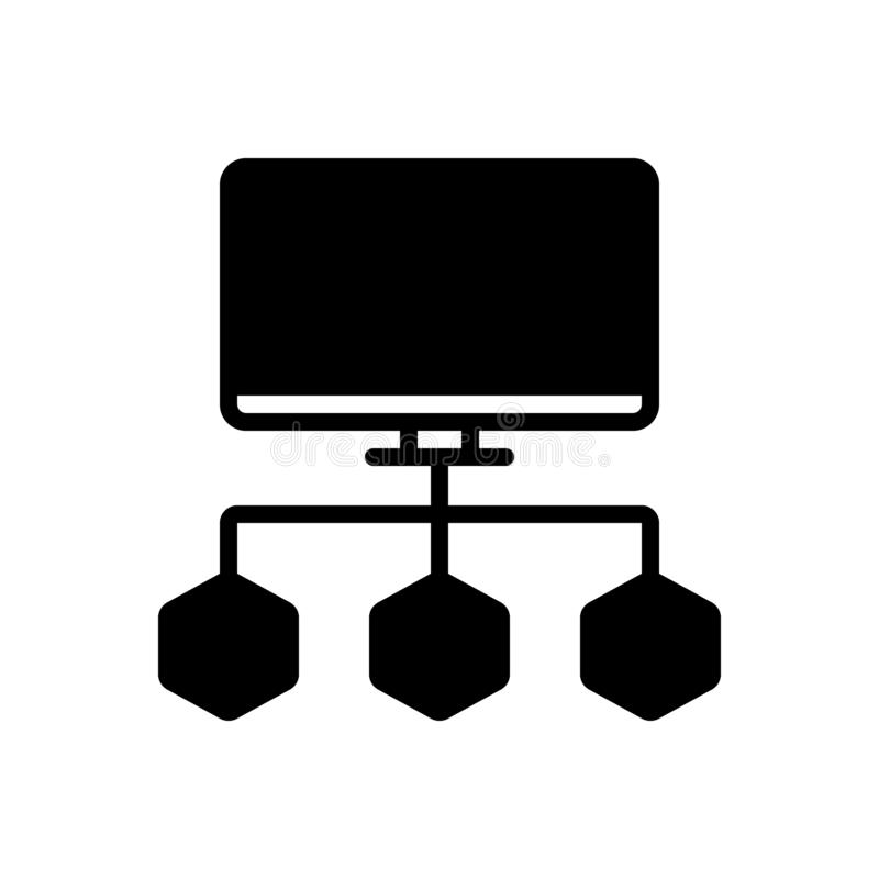 Czarna stała ikona dla Podłączeniowych dane Spływowej mapy, organizacyjny i korporacyjny ilustracja wektor