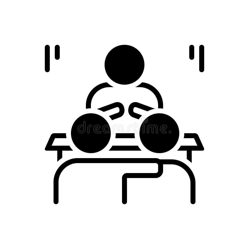 Czarna stała ikona dla Przekonuję, wyjaśnia i odszyfrowywa ilustracji