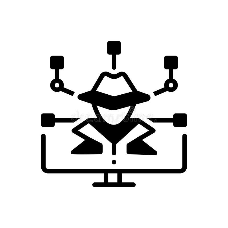 Czarna sta?a ikona dla przest?pstwa, hacker?w i ochrony Cyber, royalty ilustracja