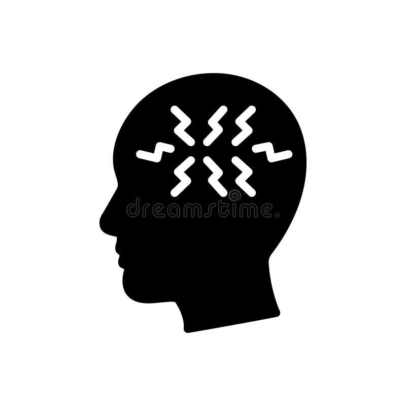 Czarna stała ikona dla Ptsd, wysyła pourazowego i stresu nieład royalty ilustracja