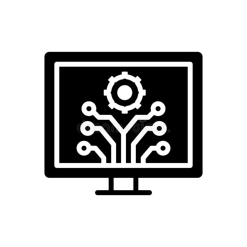 Czarna stała ikona dla rozwoju, innowacji i ewolucji, ilustracja wektor