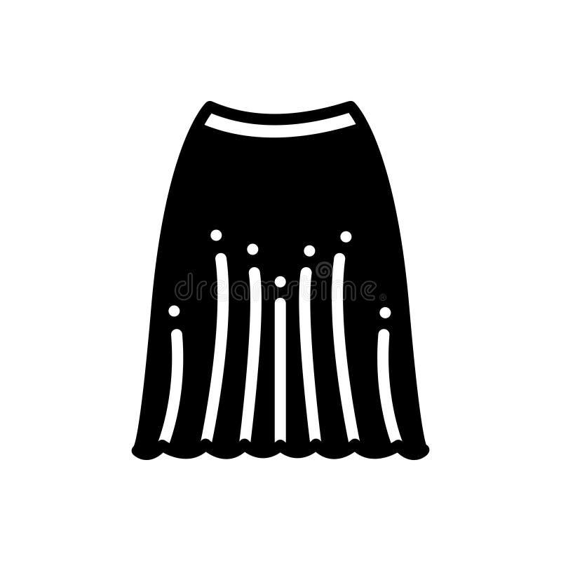 Czarna stała ikona dla spódnicy, ubrań i sukni, ilustracja wektor